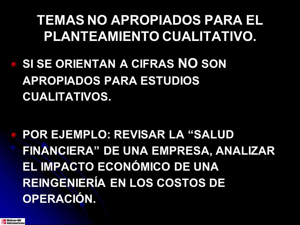 TEMAS NO APROPIADOS PARA EL PLANTEAMIENTO CUALITATIVO.