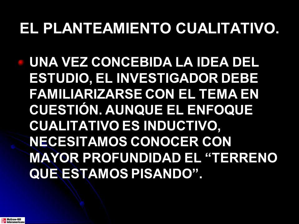EL PLANTEAMIENTO CUALITATIVO.