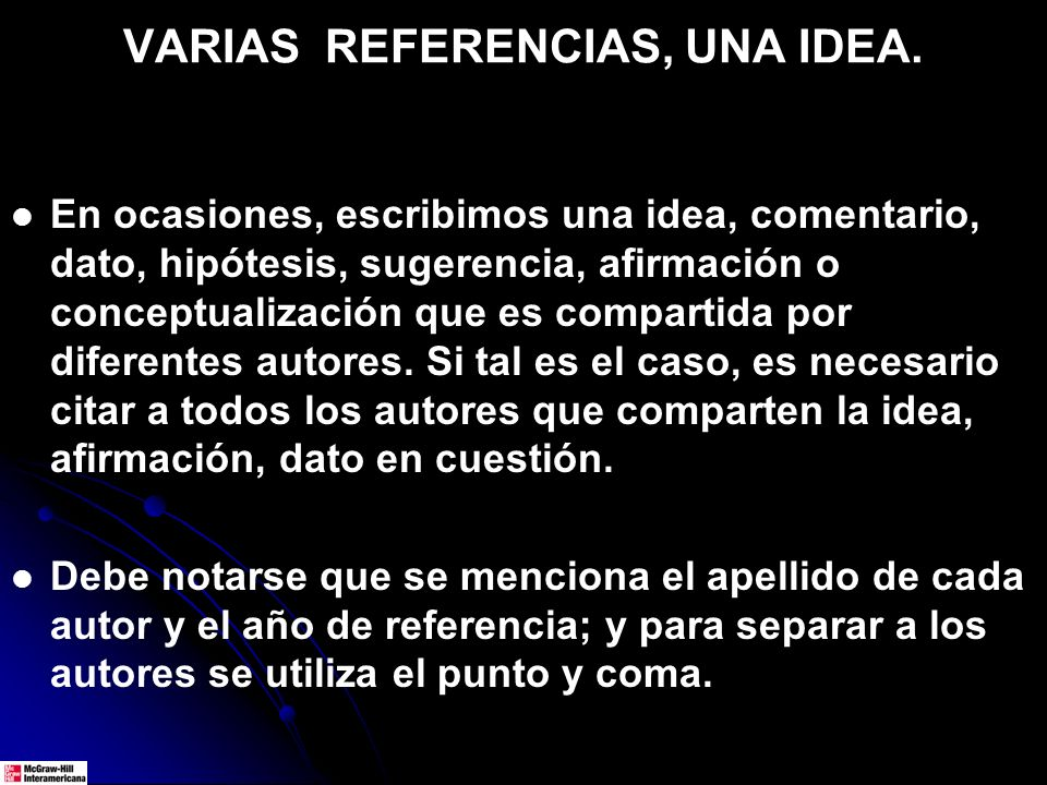 VARIAS REFERENCIAS, UNA IDEA.