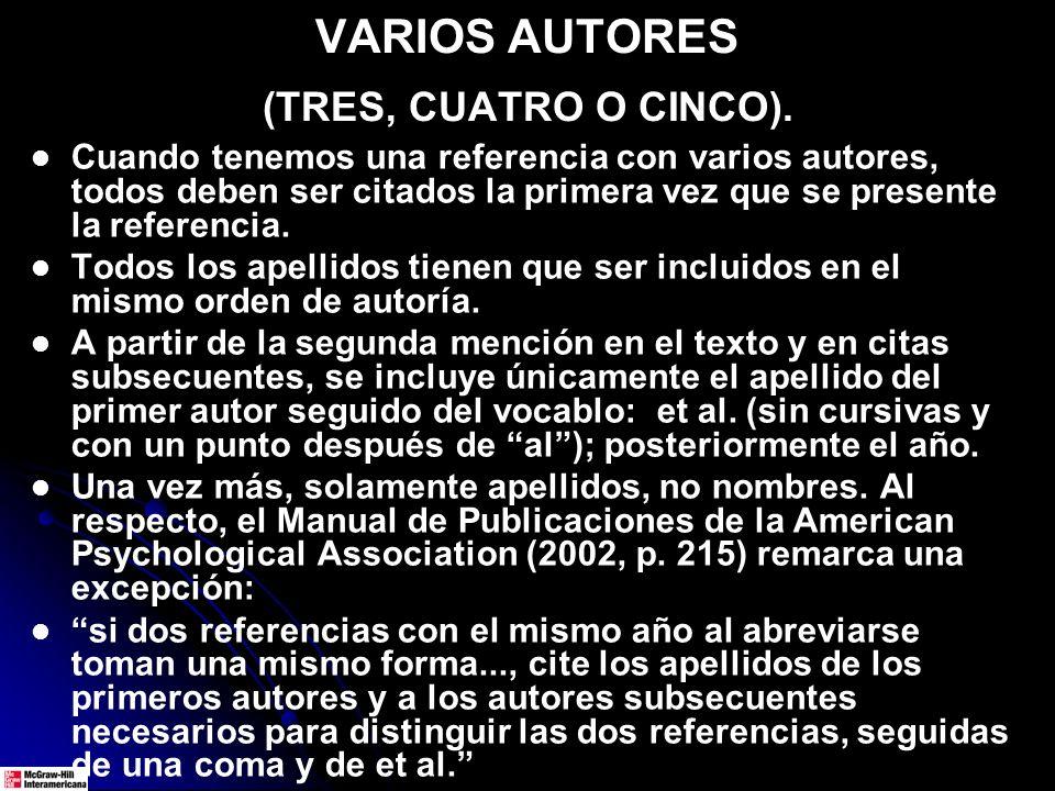 VARIOS AUTORES (TRES, CUATRO O CINCO).