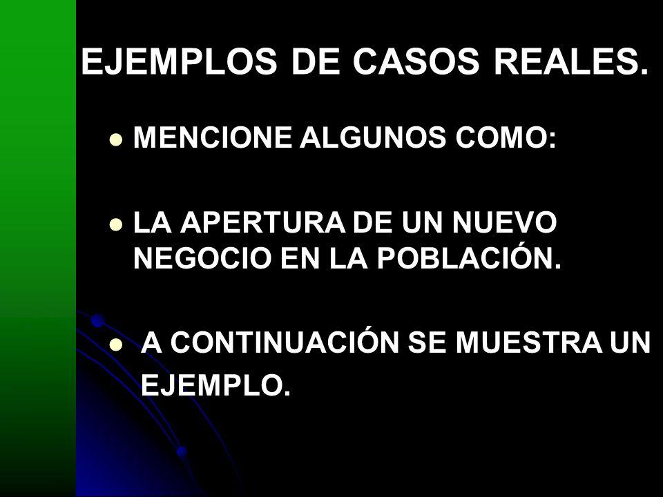 EJEMPLOS DE CASOS REALES.