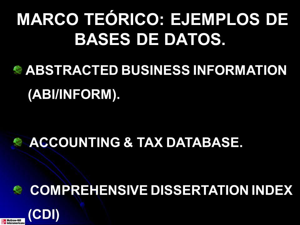 MARCO TEÓRICO: EJEMPLOS DE BASES DE DATOS.