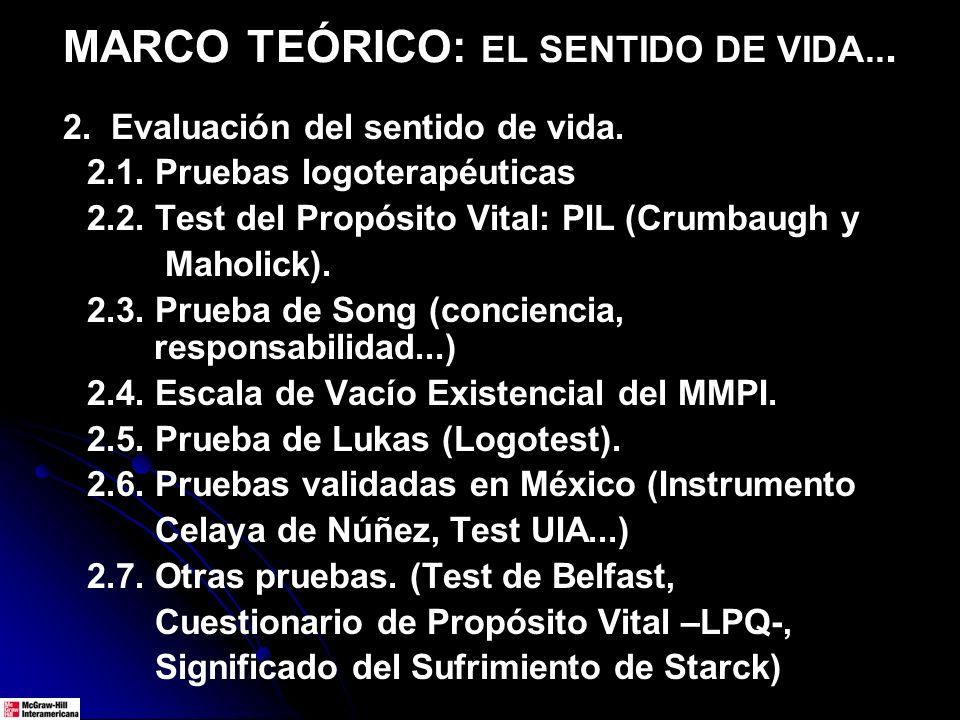 MARCO TEÓRICO: EL SENTIDO DE VIDA...