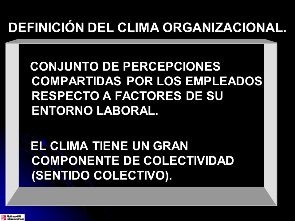 DEFINICIÓN DEL CLIMA ORGANIZACIONAL.