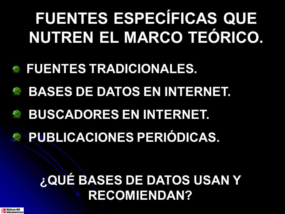 FUENTES ESPECÍFICAS QUE NUTREN EL MARCO TEÓRICO.