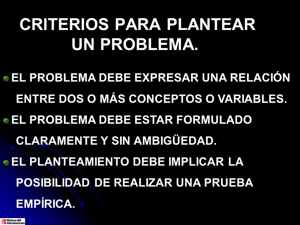CRITERIOS PARA PLANTEAR UN PROBLEMA.