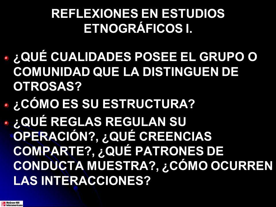 REFLEXIONES EN ESTUDIOS ETNOGRÁFICOS I.