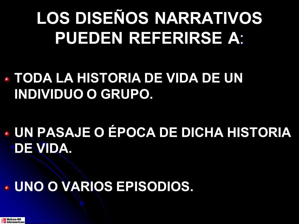 LOS DISEÑOS NARRATIVOS PUEDEN REFERIRSE A: