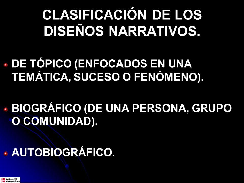 CLASIFICACIÓN DE LOS DISEÑOS NARRATIVOS.