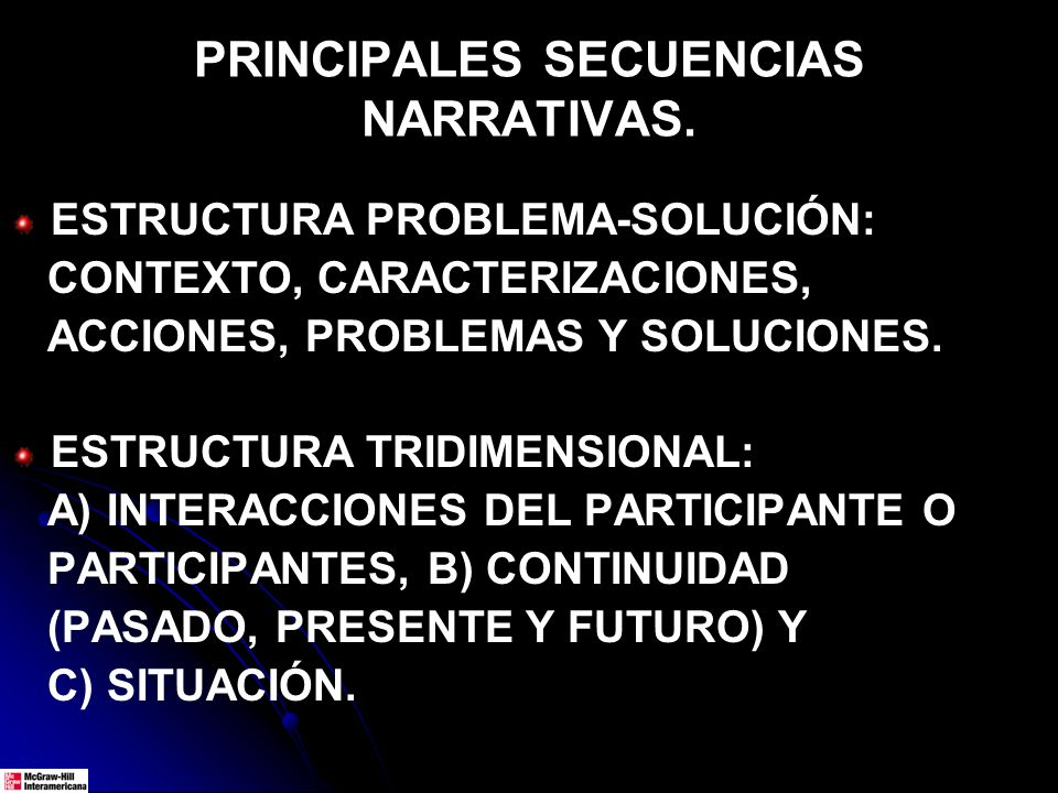 PRINCIPALES SECUENCIAS NARRATIVAS.