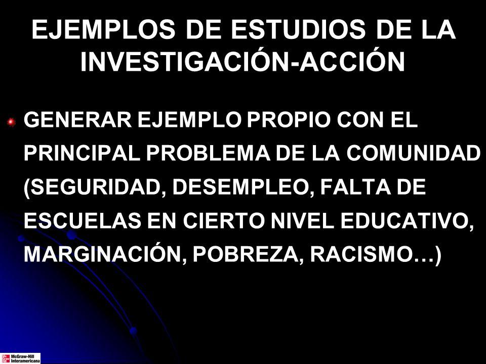 EJEMPLOS DE ESTUDIOS DE LA INVESTIGACIÓN-ACCIÓN