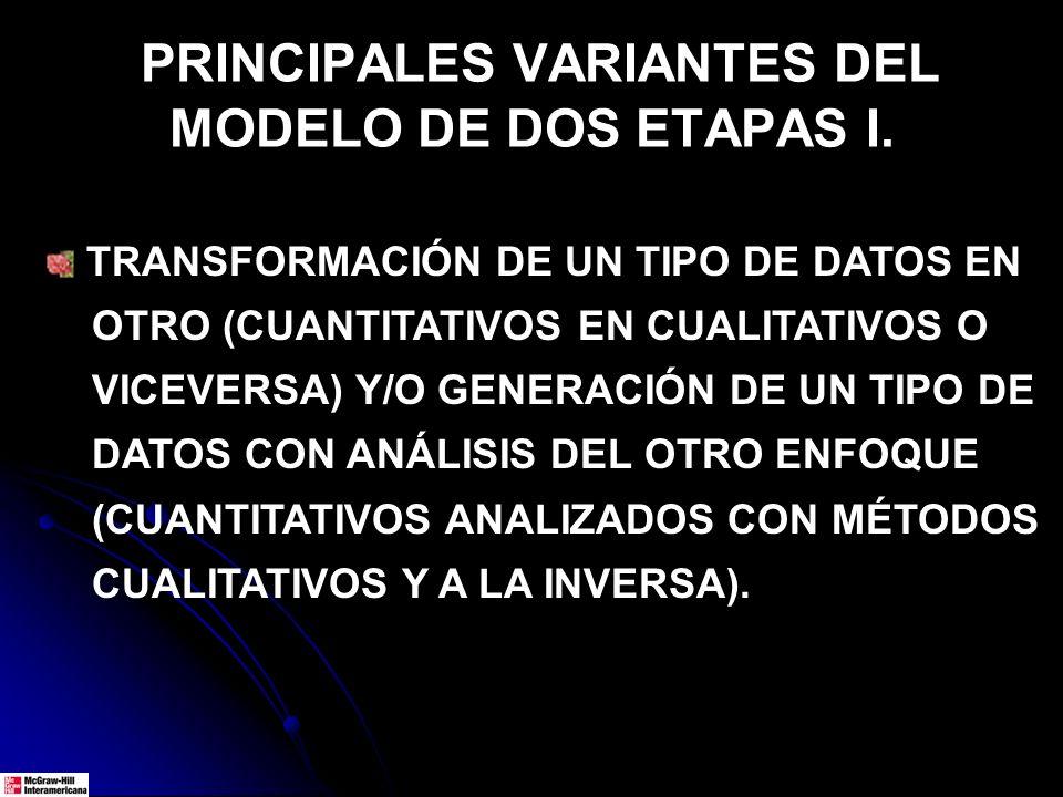 PRINCIPALES VARIANTES DEL MODELO DE DOS ETAPAS I.