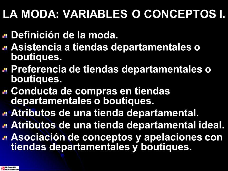 LA MODA: VARIABLES O CONCEPTOS I.
