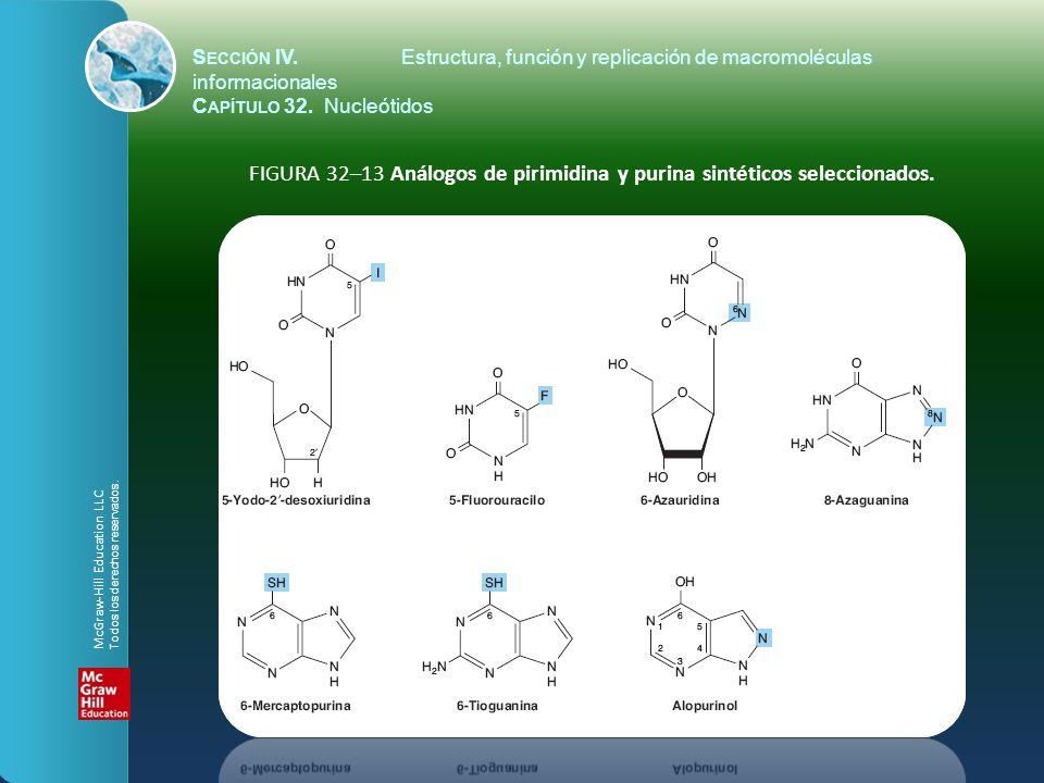 FIGURA 32–13 Análogos de pirimidina y purina sintéticos seleccionados.