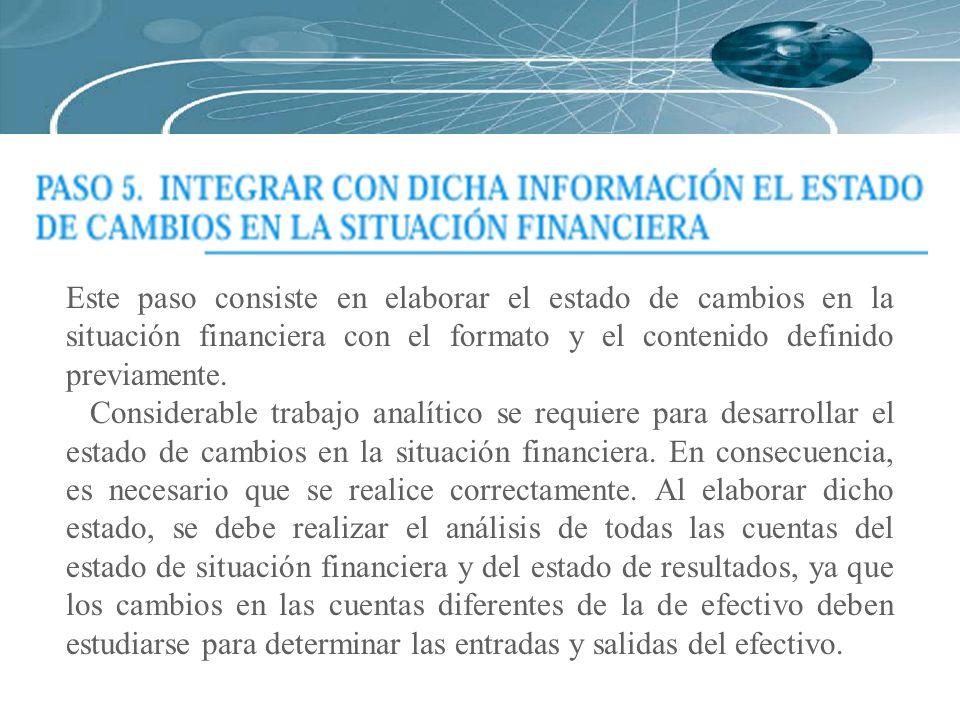 Este paso consiste en elaborar el estado de cambios en la situación financiera con el formato y el contenido definido previamente.