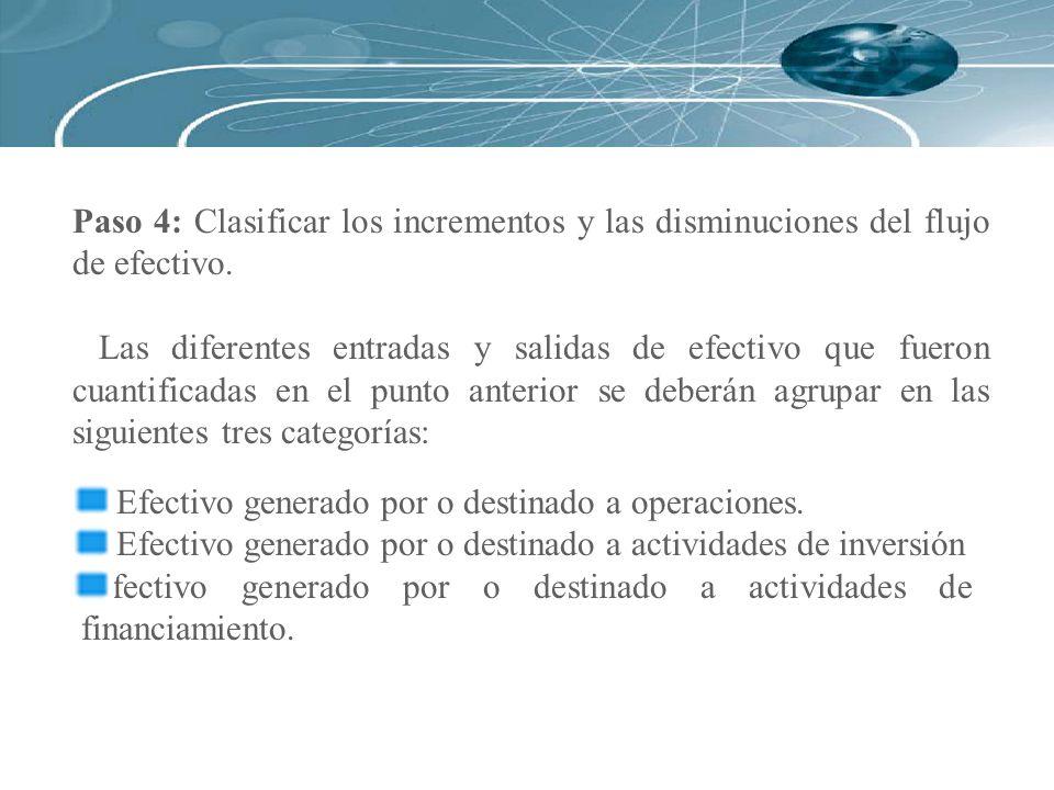 Paso 4: Clasificar los incrementos y las disminuciones del flujo de efectivo.