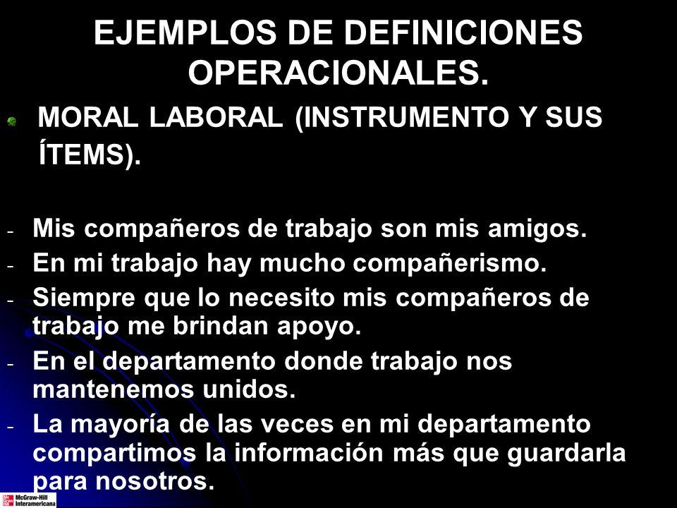 EJEMPLOS DE DEFINICIONES OPERACIONALES.