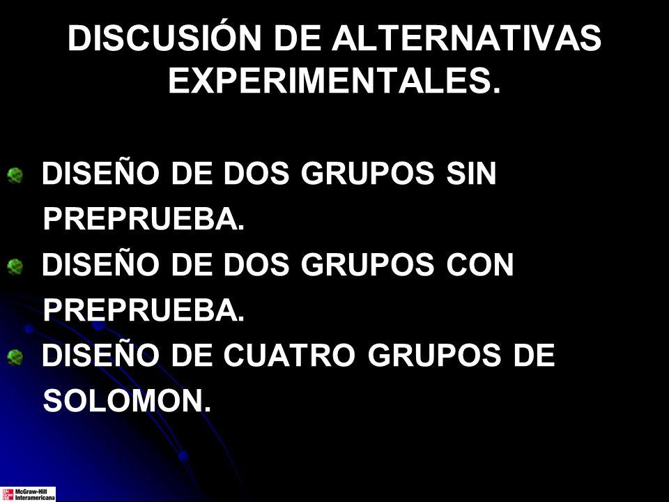 DISCUSIÓN DE ALTERNATIVAS EXPERIMENTALES.