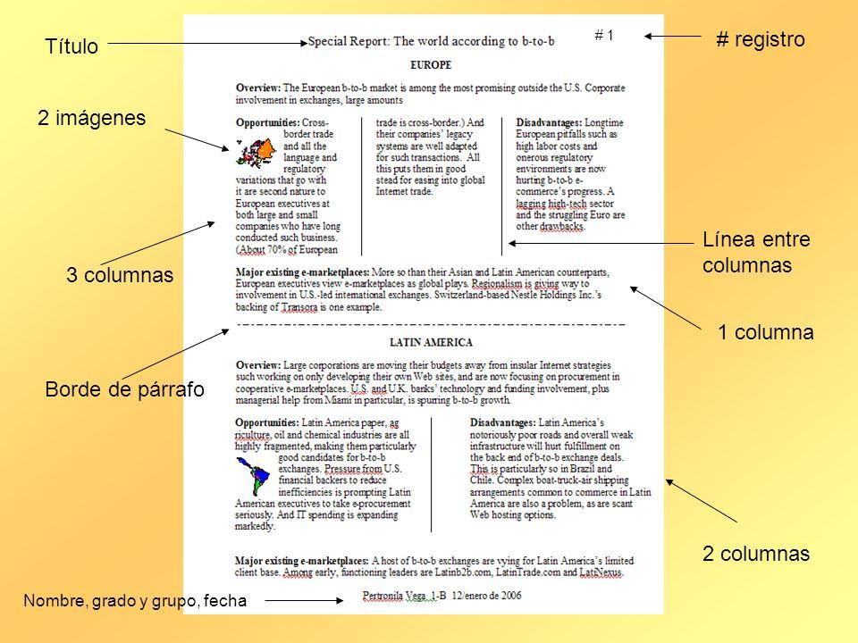 # registro Título 2 imágenes Línea entre columnas 3 columnas 1 columna