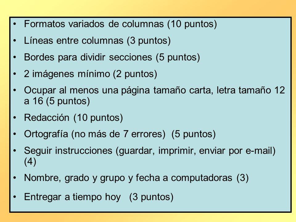 Formatos variados de columnas (10 puntos)