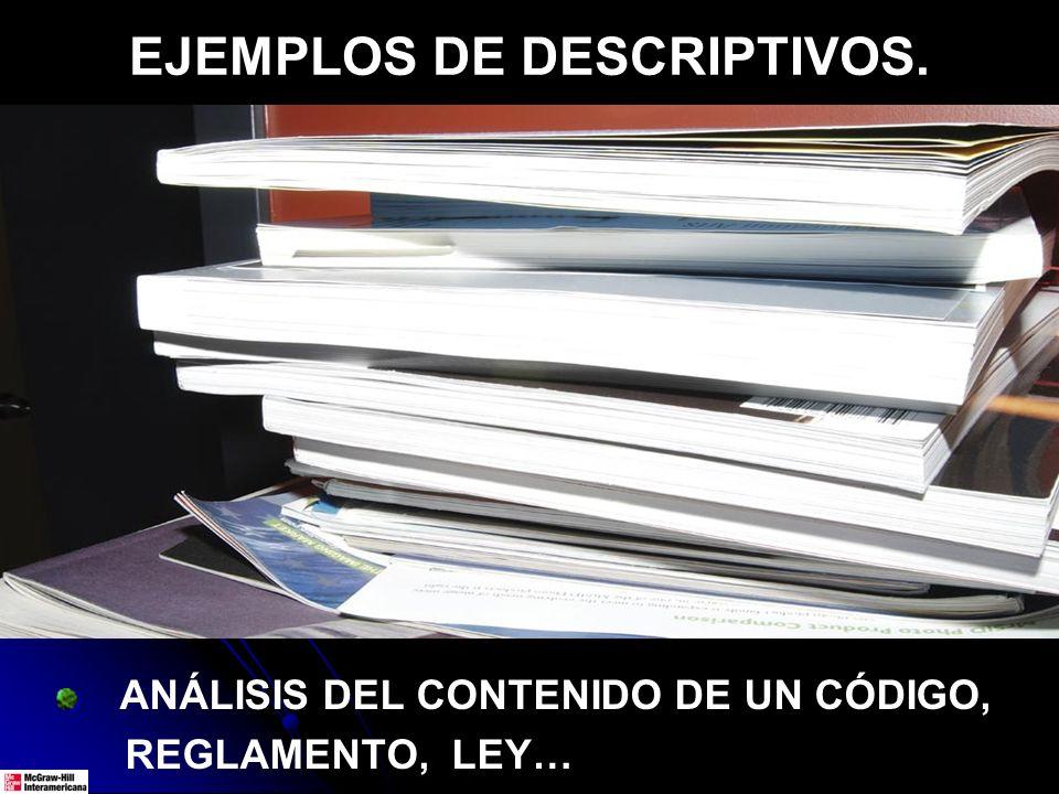 EJEMPLOS DE DESCRIPTIVOS.