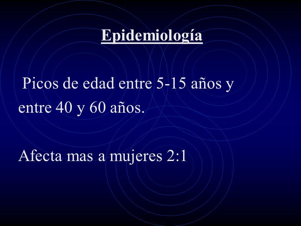 Epidemiología Picos de edad entre 5-15 años y entre 40 y 60 años. Afecta mas a mujeres 2:1