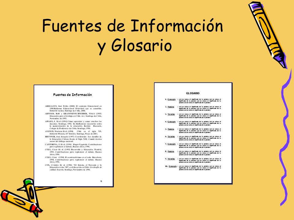 Fuentes de Información y Glosario