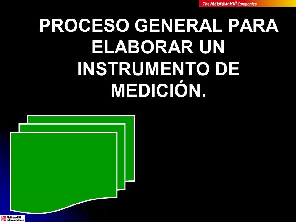 PROCESO GENERAL PARA ELABORAR UN INSTRUMENTO DE MEDICIÓN.