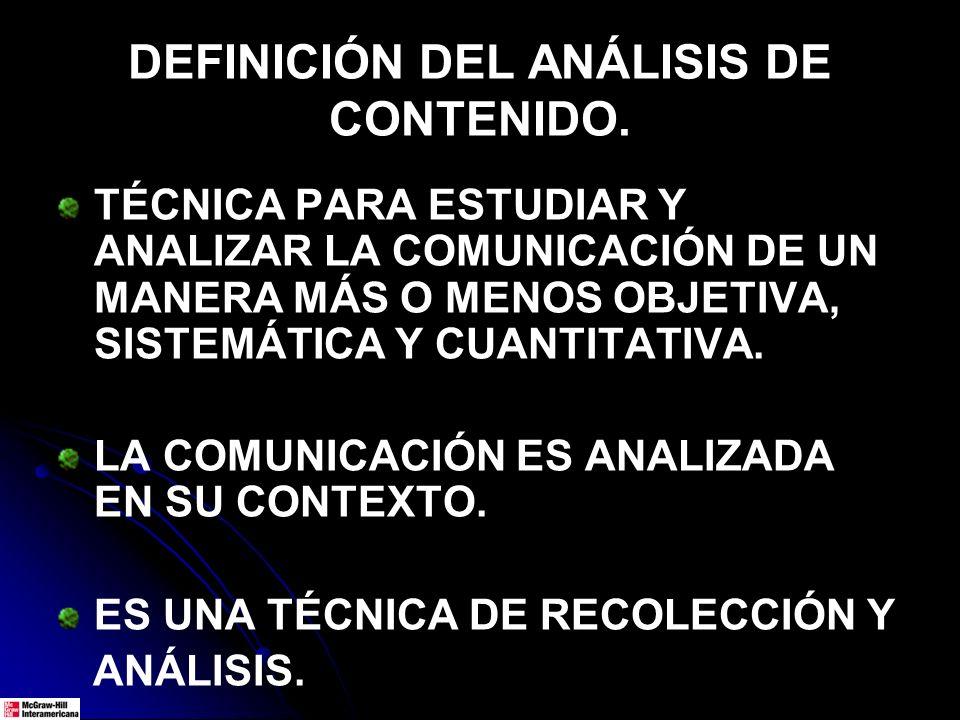 DEFINICIÓN DEL ANÁLISIS DE CONTENIDO.