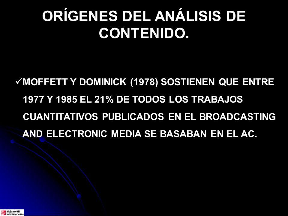 ORÍGENES DEL ANÁLISIS DE CONTENIDO.