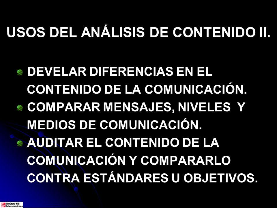 USOS DEL ANÁLISIS DE CONTENIDO II.