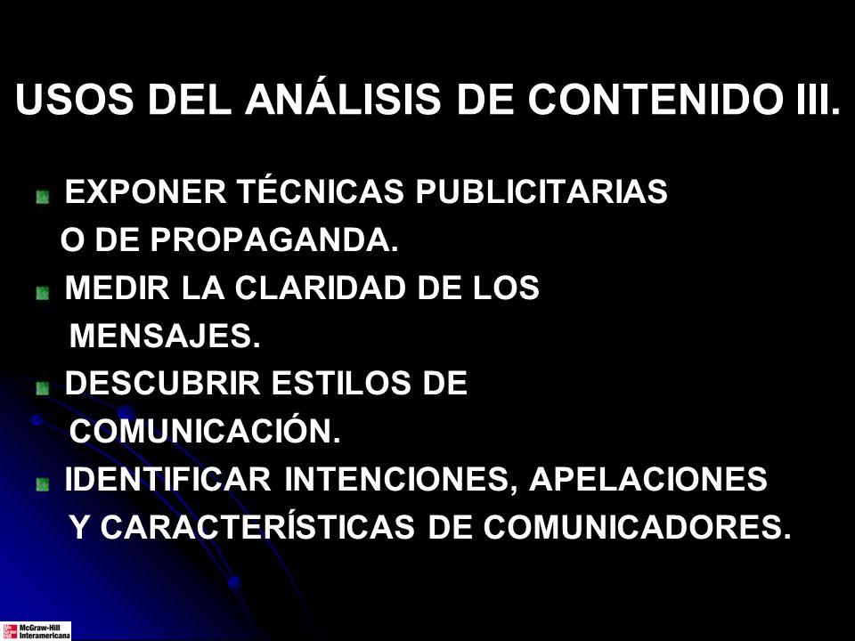 USOS DEL ANÁLISIS DE CONTENIDO III.