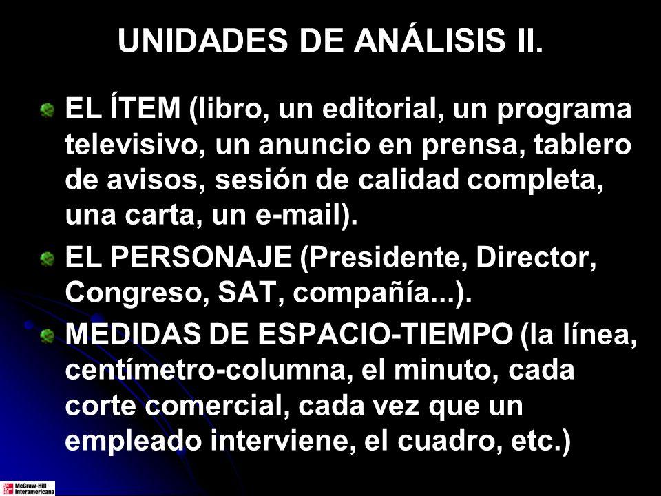 UNIDADES DE ANÁLISIS II.
