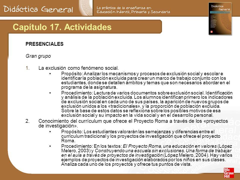 Capítulo 17. Actividades PRESENCIALES Gran grupo