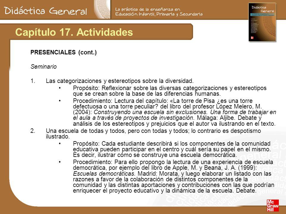 Capítulo 17. Actividades PRESENCIALES (cont.) Seminario