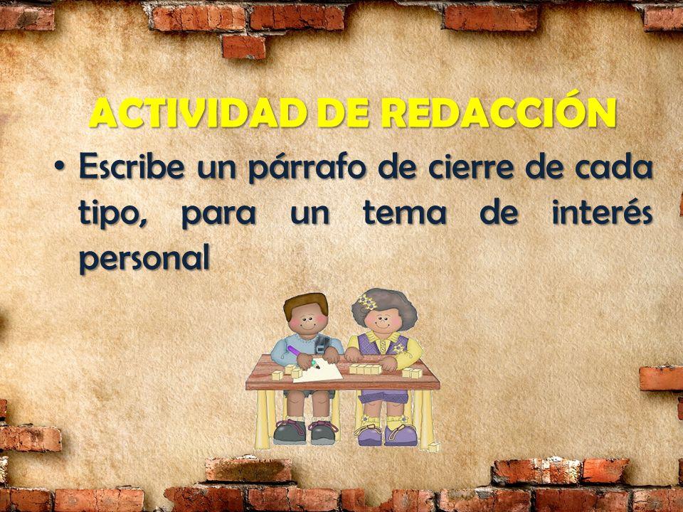 ACTIVIDAD DE REDACCIÓN