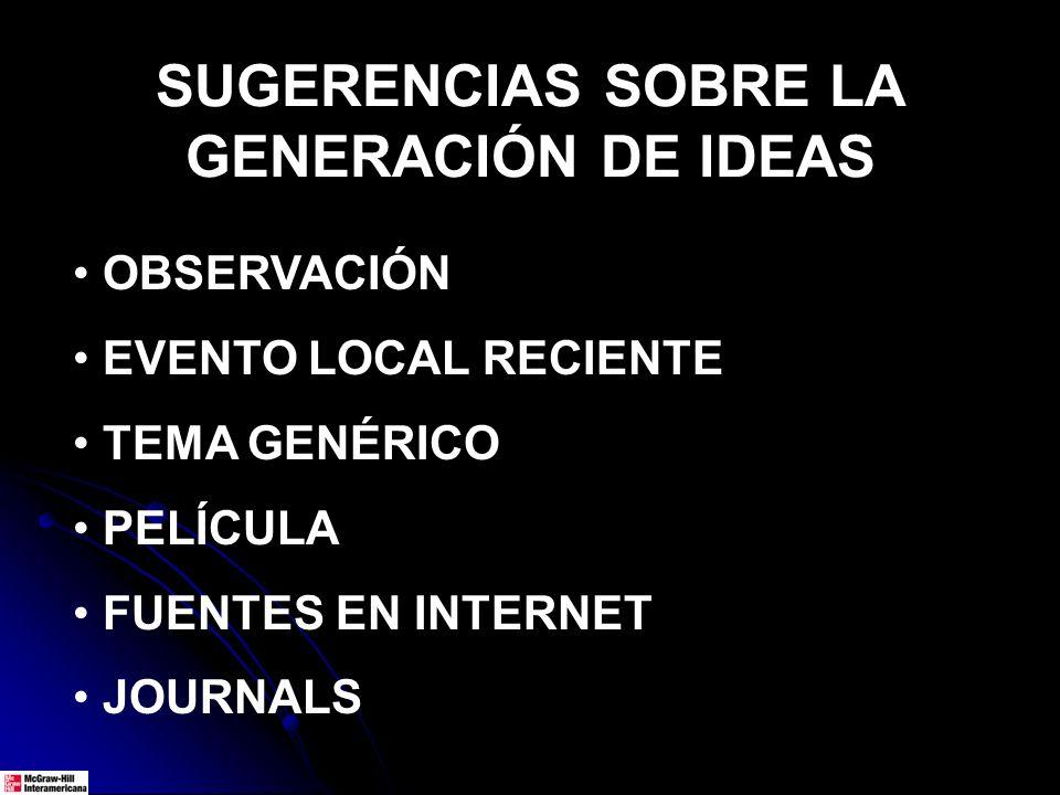 SUGERENCIAS SOBRE LA GENERACIÓN DE IDEAS