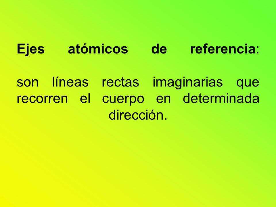 Ejes atómicos de referencia: son líneas rectas imaginarias que recorren el cuerpo en determinada dirección.