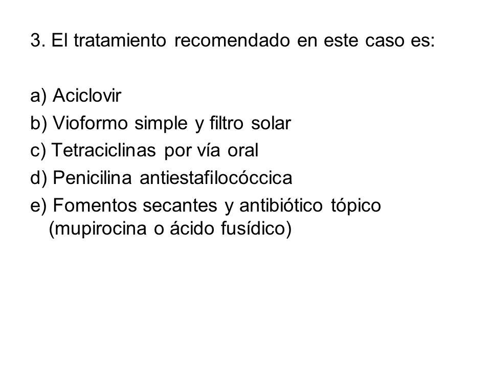 3. El tratamiento recomendado en este caso es: