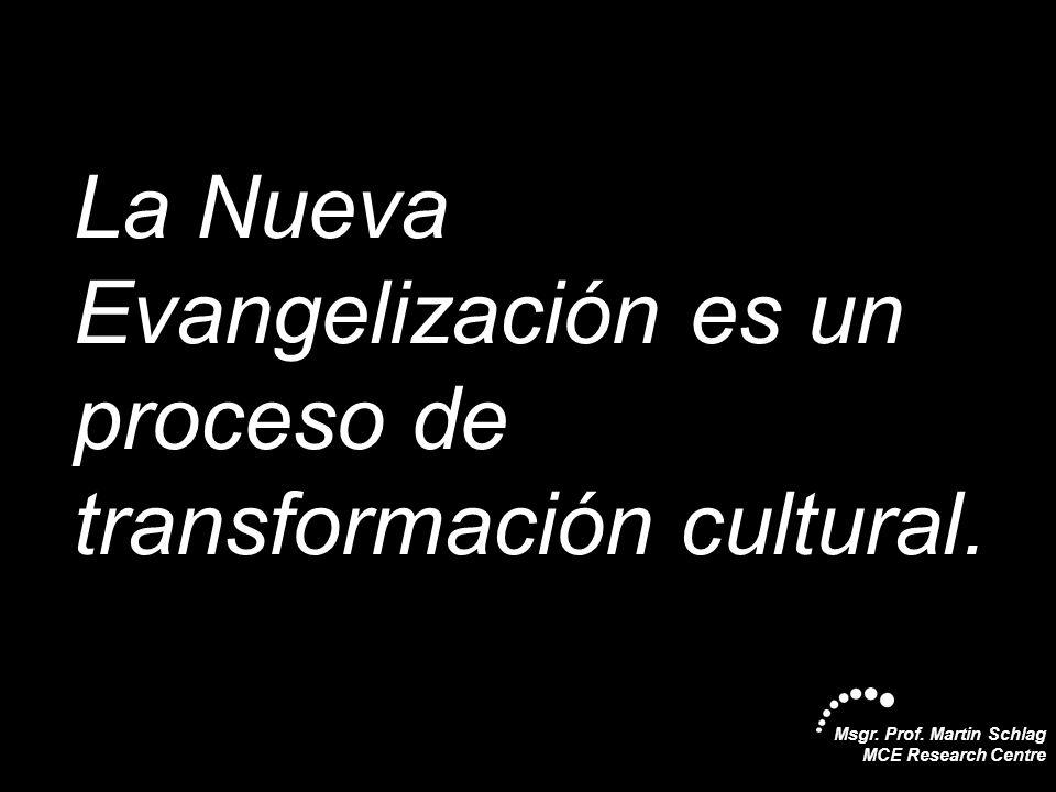 La Nueva Evangelización es un proceso de transformación cultural.