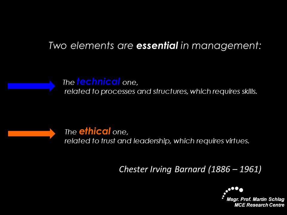 Two elements are essential in management: