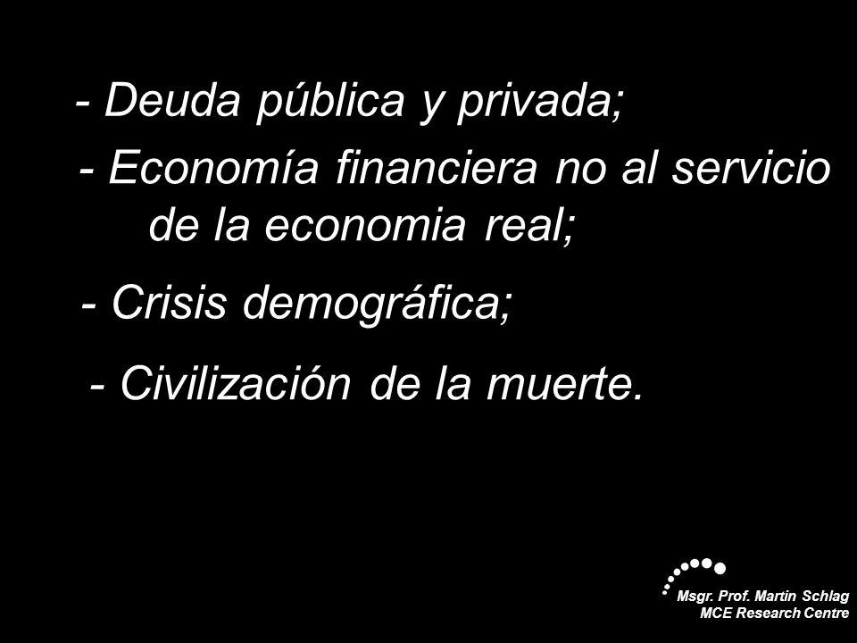 - Deuda pública y privada;