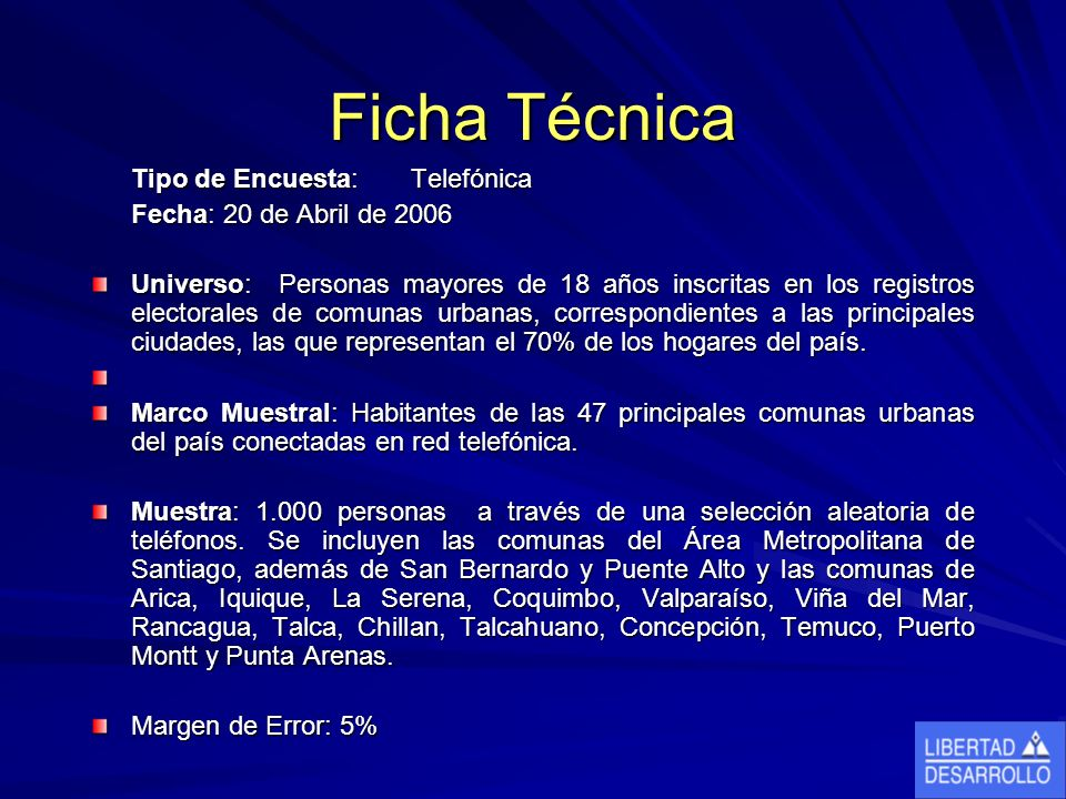 Ficha Técnica Tipo de Encuesta: Telefónica Fecha: 20 de Abril de 2006