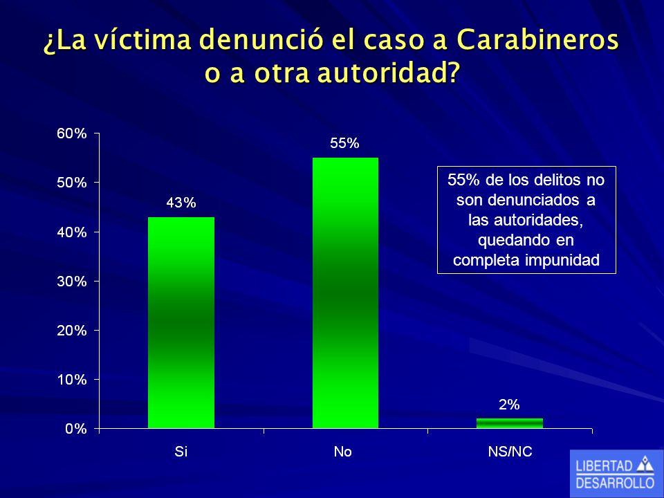 ¿La víctima denunció el caso a Carabineros o a otra autoridad