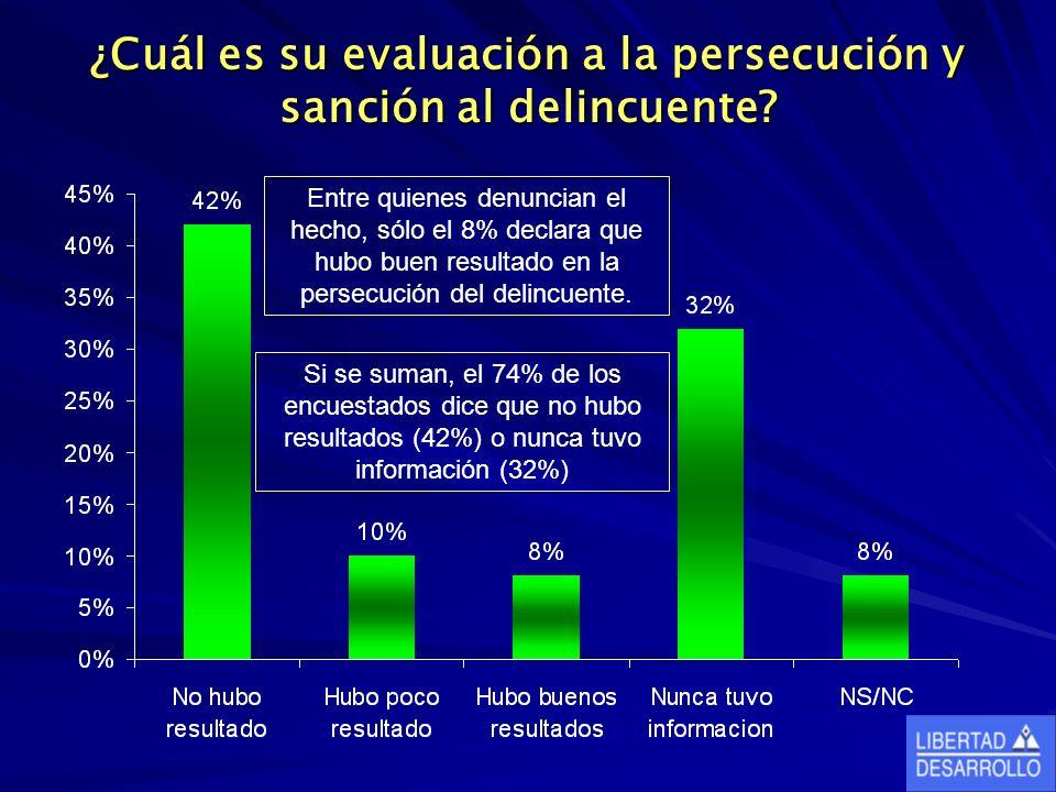 ¿Cuál es su evaluación a la persecución y sanción al delincuente