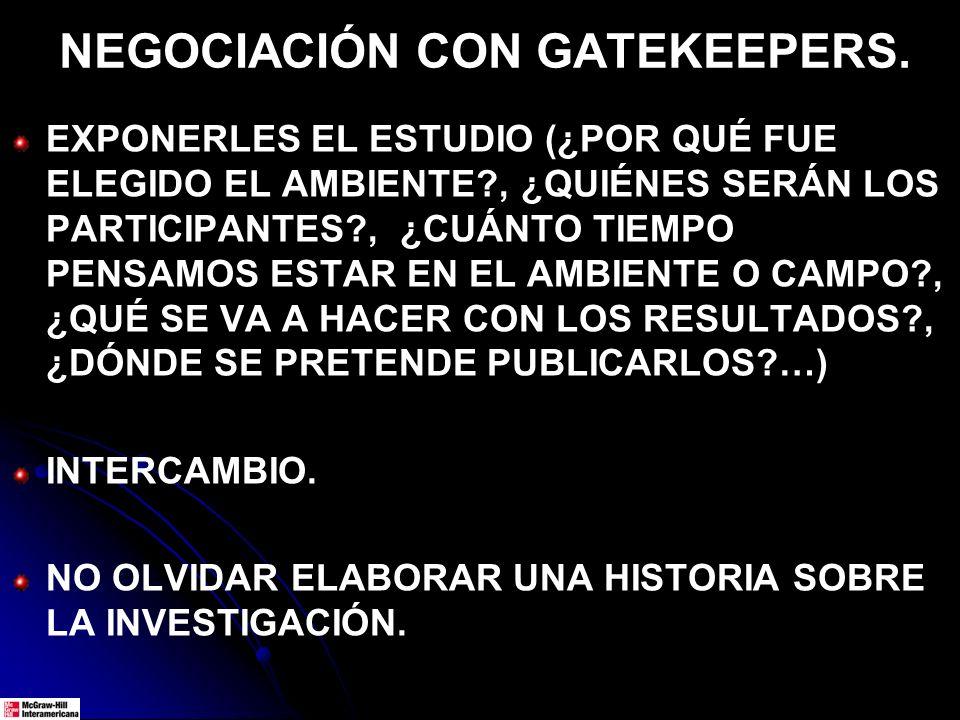 NEGOCIACIÓN CON GATEKEEPERS.