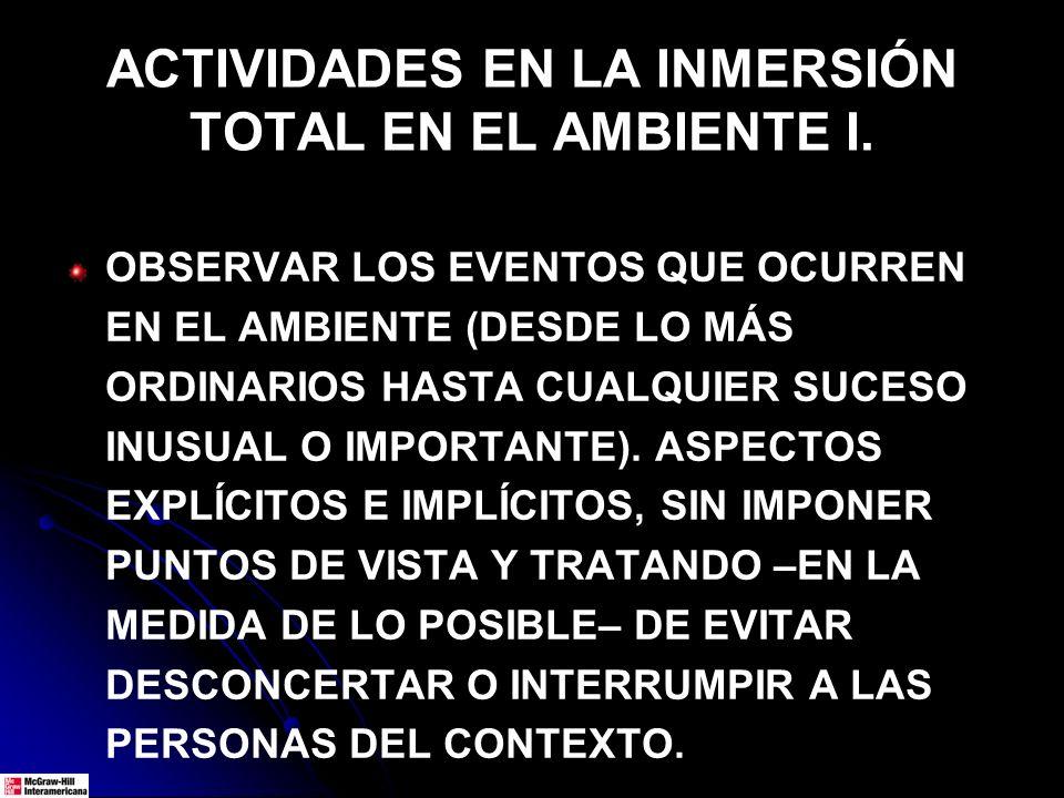 ACTIVIDADES EN LA INMERSIÓN TOTAL EN EL AMBIENTE I.