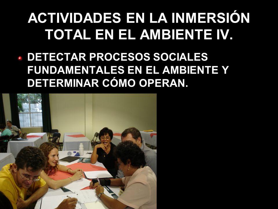 ACTIVIDADES EN LA INMERSIÓN TOTAL EN EL AMBIENTE IV.