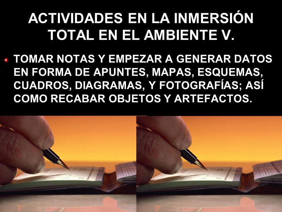 ACTIVIDADES EN LA INMERSIÓN TOTAL EN EL AMBIENTE V.