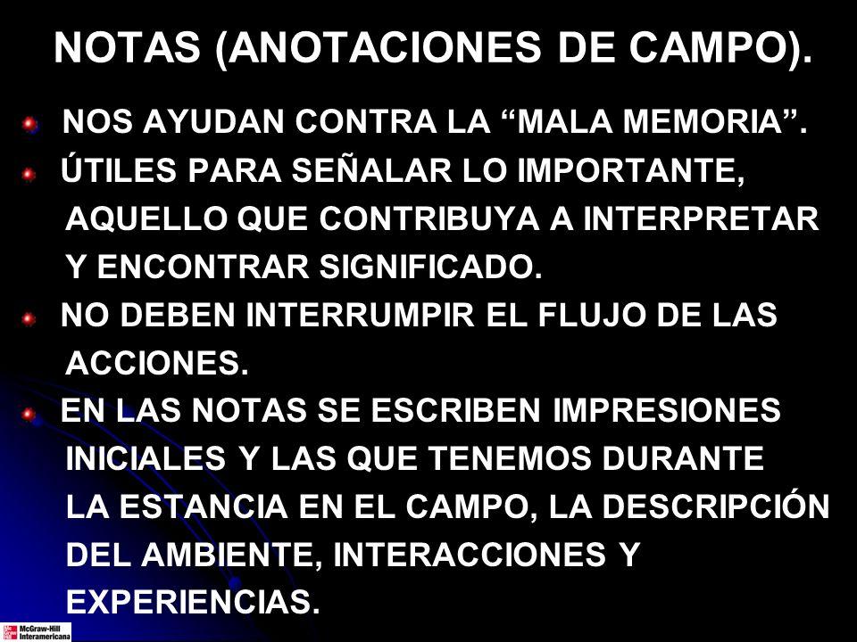 NOTAS (ANOTACIONES DE CAMPO).